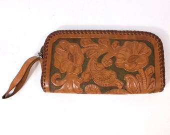 "Vintage Poppy Floral Leather Wallet Purse 4.25"" x 7.75"""