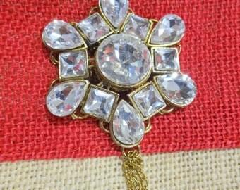 Antique Bronze Metal Embellishment, Wedding Accents, Brooch with Rhinestones, Rhinestone Charm, Bag Embellishment, Craft Supplies