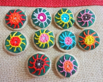Fabric Covered Buttons, Decorative Buttons, Sew on Buttons with Mirrors, Embroidered Buttons - 10 count