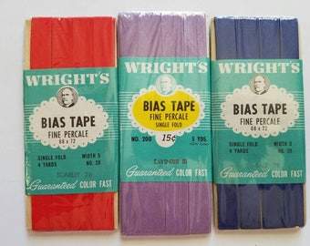 Lot of 3 solid colored Vintage Wrights Bias Tape New in Package