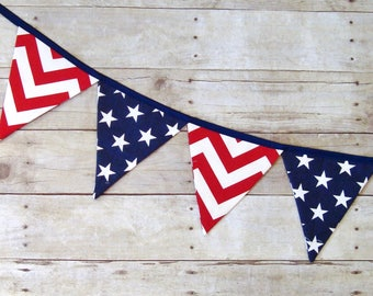 Fabric banner, July 4th Decorations, Memorial Day, Red white and blue, USA bunting, American Flag Banner Bunting, 4th of July, Patriotic