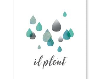 Nursery Art Raindrops Print, Nursery Decor, Kids Room Wall Art, Il Pleut, French Nursery Art, Baby Shower Gift, Baby Girl Gift
