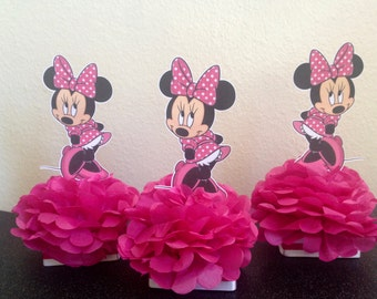 minnie mouse decorations, minnie mouse centerpiece, minnie mouse party, girls birthday party, minnie mouse plate decoration