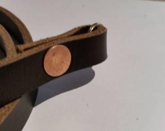Extra heavy duty leather camera strap