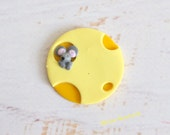 Refrigerator Magnet mouse and cheese polymer clay kitchen decoration