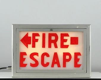 Vintage Fire Escape Sign