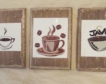 Coffee Shop Modge Podge plaques  set of 3   5x7