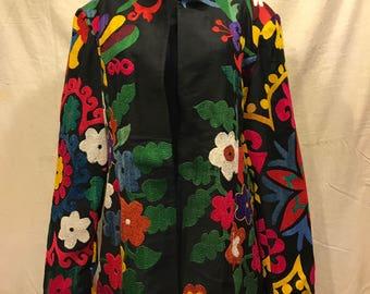 Vintage Uzbek Suzani jacket kaftan clothing