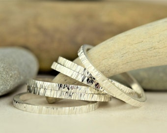 Sterling Silver Stacking Ring-hammer textured