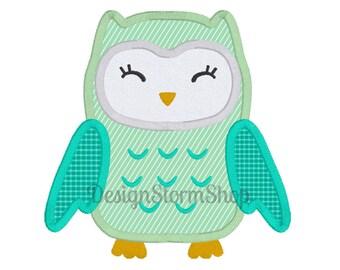 Owl Embroidery Design/Machine Applique/Instant Digital Download File/Woodland Bird/Boy Girl Baby/4x4 5x7 6x10
