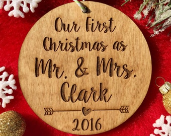Our First Christmas as Mr. and Mrs. Ornament - Personalized Wood Ornament, Just Married, First Married Christmas, Wedding Gift, Marriage
