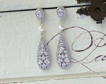 Crystal Teardrop Earrings, Bridal earrings, Crystal & Pearl Wedding Earrings, CLIP ON Earring Option, Bridal Jewelry