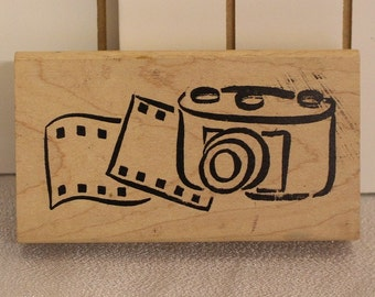 Film and Camera Rubber Stamp, Used, Wood mounted, Film and Camera, Film Stamp, Camera Stamp, Film Frame Stamp, Photography,