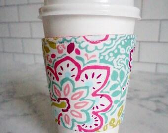 Reusable Coffee Sleeve-Garden Print