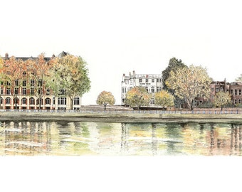 By Putney Bridge, limited edition fine art print, panoramic painting in watercolour and ink, London SW15