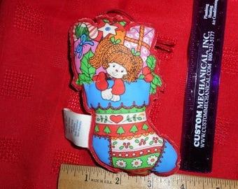 Vintage Hallmark Fabric Stocking Christmas Tree Ornament