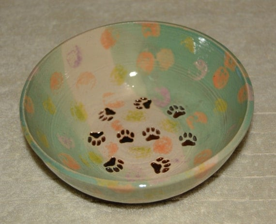Pet Dish, Dog Bowl, Cat Bowl, Food Bowl, Water Dish, Polka Dots, Paw Prints, Turquoise, Off White, Black, Stoneware, Kid Made, Ceramic