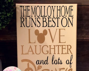 This HOME Runs On Love, Laughter, and DISNEY Art Print Canvas