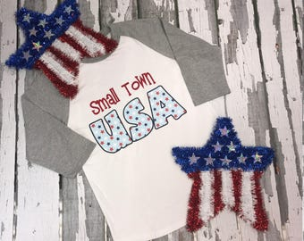 Youth 4th Of July Tee, Small Town USA Kids Shirt, Americana Kids Top, Independence Day Youth Tee USA