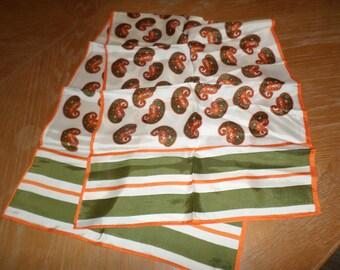 "Vintage Orange & Olive Green Paisley Scarf 40"" x 15"" Rayon?"