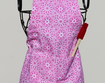 Starburst Pink and White Little Chef Adjustable Apron