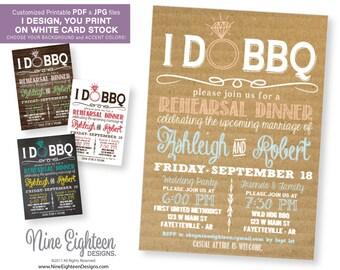 IDoBBQ Rehearsal Dinner INVITATION. Rustic BBQue theme. Customized Printable PDF and JPG.