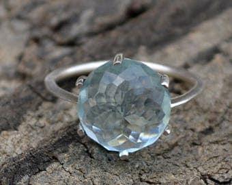 Rose Cut Light Blue Quartz Ring, Round Quartz Ring, 925 Sterling Silver Ring, Prong Set Ring, Quartz Ring, Gift For Her, Lovely Gift Ring