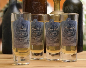 Bridesmaid Gift // 2 Personalized Shot Glass for your Bridesmaid or Maid of Honor