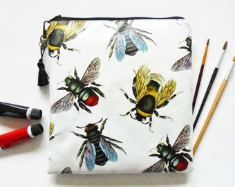 Waterproof Large square bag, queen bee, bumble bee, vintage bee species, travel bag, overnight pouch.