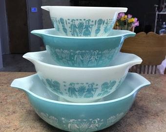 4 Piece Pyrex Butterprint Cinderella Bowl Set