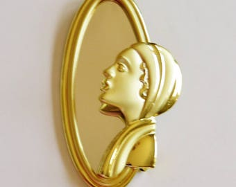 AJC Art Deco Woman In Mirror Brooch Pin/ Rare/HTF