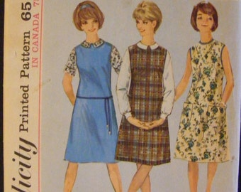 1963 Misses' Jumper Dress Blouse Vintage Simplicity Sewing Pattern 5384 Size 14 Bust 34""