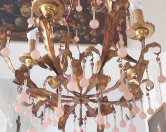 NEVER AGAIn SALE!Pink opaline 4Bulb Muranohandblown drops chandelier gilt handforged tole,Venetian,brass,candelabra,sconce,Italy,french