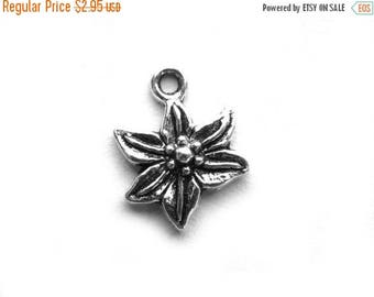 HALF PRICE 10 Silver Poinsettia Charms - 17mm Flower