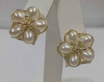 Freshwater Cultured Pearl Stud Earrings 925 Sterling Silver Gold Plated