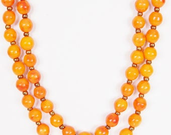 Vintage Orange Glass Bead Necklace - Great Pop Of Color