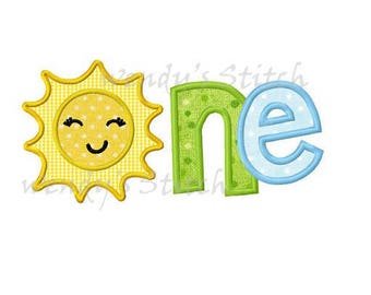 Sun number one applique birthday machine embroidery design instant download