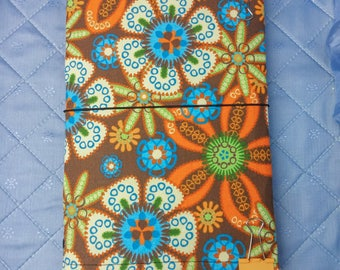Retro Brown Fabridori Midori Style Traveler's notebook cover with a cotton flower print fabric