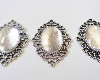 3 - Ornate Oval Cabochon Settings w/Glass