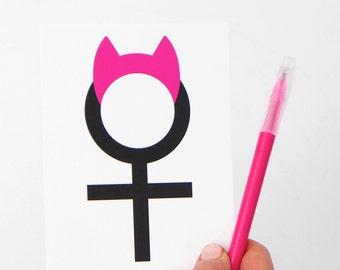 Activist Postcards Protest Trump Resist Postcards Anti Trump Women's March Postcard, Feminist Card