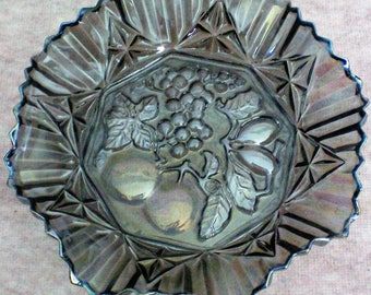 Federal Glass Pioneer Iridescent Smoke 10 inch Ruffled Bowl - 5136