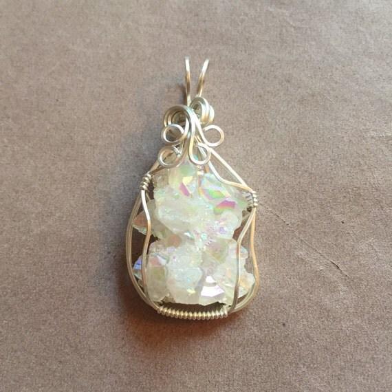 Opal Aura Angel Aura Quartz Crystal Cluster Sterling Silver