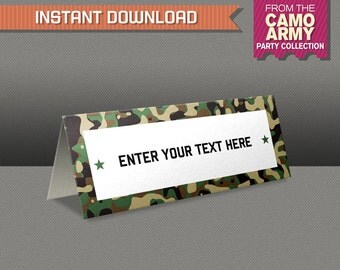 Army Food Labels / Camo Place Cards / Camo Food Labels - INSTANT DOWNLOAD - Edit and print at home - Camo Army Birthday Decoration
