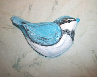 "Chubby Little Blue Bird Cabochon,turquoise,white,mosaic tile,hand painted,jewelry supply,flat back bead,sewing,2 5/8"" by 1.5"""
