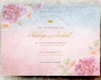 Pink blue Wedding Invitation printable - elegant wedding invitation, calligraphy wedding invitation, romantic wedding invitation