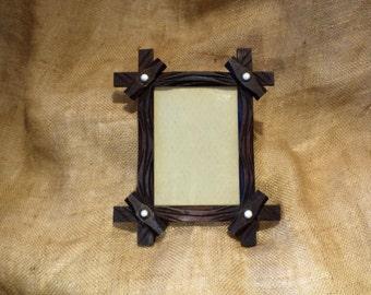 Wood Picture Frame, Tramp Art Frame, Great Antique Folk Art Salvage