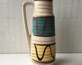 Vintage vase 1950s West German Pottery Scheurich Keramik graphic modernist mid century home decor 275 20