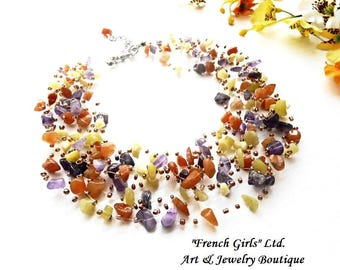 Raw Gemstone Necklace Floating Air Amethyst Opal Chrysolite Invisible Crochet Floating Choker Jewelry Glass Seed Bohemian Statement Boho