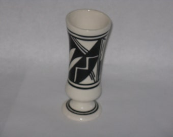 Vintage Silas Nav black and white ceramic vase small bud vase