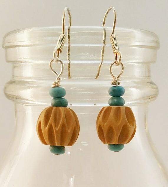 Simple Wood Dangle Earrings on Sterling Silver French Hooks